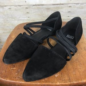 Eileen Fisher Dear Strappy Black Suede Flats Sz 6